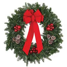 22 in live fraser fir christmas wreath with red bow red ornaments
