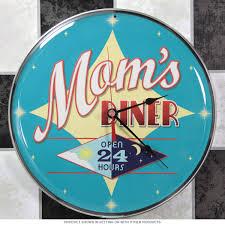 mom u0027s diner open 24 hours wall clock kitchen clocks