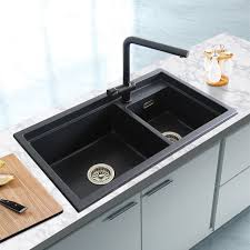 Quartz Stone Kitchen Sink Granite Double Bowl Sink Kitchen - Kitchen basin sinks