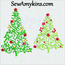 Decorate Christmas Tree Vine by Elegant Christmas Tree Embroidery Scroll Design With Vines