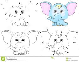 cartoon elephant coloring book and dot to dot game for kids stock