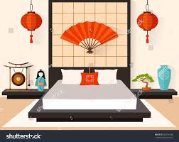bedroom japanese style interior flat style stock vector 380734708