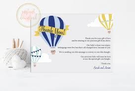 air balloon thank you card baby shower thank you instant