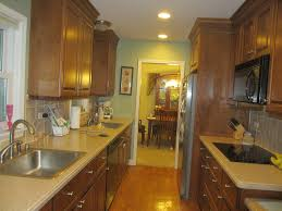 kitchen elegant small corridor galley kitchen design with brown