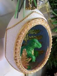 dinosaur triceratops glass ornament time