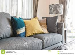 colorful pillows for sofa colorful pillows on modern grey sofa in living room stock photo