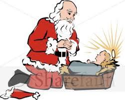santa kneeling at the manger praying clipart