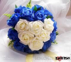 wedding flowers blue and white diameter 28 cm wedding bouquet blue with white heart wedding bouquet