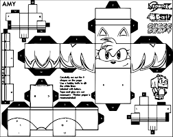 amy rose sonic cube craft coloring page wecoloringpage