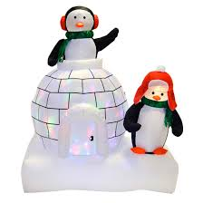 Light Up Snowman Outdoor Giant 5ft Inflatable Disco Light Up Penguins Igloo Outdoor