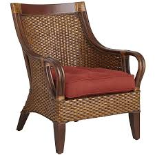 chairs mocha brown wicker wing chair rattan abaca wood material