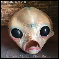 scary latex big eyes face mask alien ufo extra terrestrial party