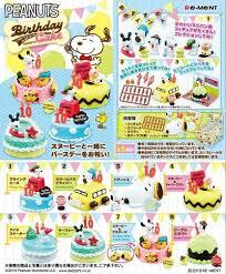 re ment miniature peanuts snoopy birthday cake set
