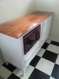 kitchen island microwave cart turn a dresser into a desk side view of repurposed dresser into