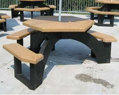 the standard ada picnic table has the traditional step over design