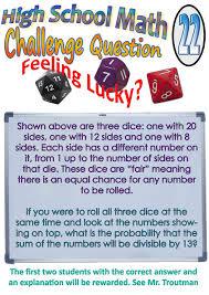 Challenge Meaning High School Math Challenge Problem 22