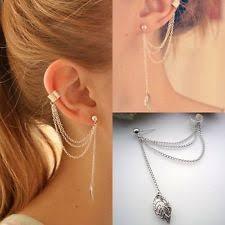 cuff earrings with chain chain link fashion earrings ebay