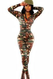 army green camouflage long sleeve jumpsuit rompers and