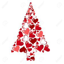abstract vector christmas tree with lovely hearts royalty free