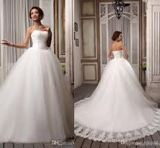 dh wedding dresses sell popular ribbons strapless white embroidery tulle