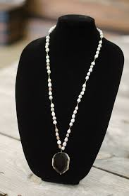 black stone pendant necklace images Black onyx stone pendant seed necklace sozo trading co jpg