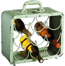 antique green metal suitcase vintage wine rack cool style at