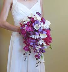 Lily Bouquet Cascading Purple Orchid U0026 Calla Lily Bouquet For Your Beach