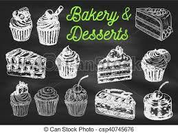 vectors illustration of bakery and desserts chalk sketch icons on