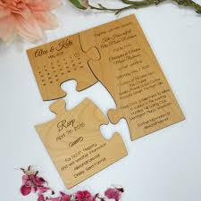 save the date invitation engraved wooden save the date puzzle personalized favors
