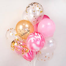 balloon delivery mn strawberry marble confetti balloon bouquet pink white