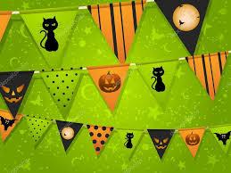halloween bunting on green background u2014 stock photo elaineitalia
