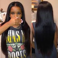 long black hair with part in the middle brazilian straight hair extensions brazilian straight hair weave