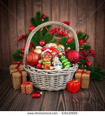 christmas basket christmas new year background basket colored stock photo 519432685