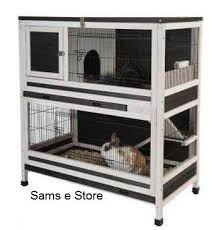 Rabbit And Guinea Pig Hutches Small Pet Cage Indoor Lounge 2 Storey Wooden Rabbits Or Guinea