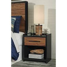 home decor lovely cherry finish nightstand combine with black one