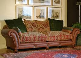 Leather Sofa Cushions Leather With Fabric Furniture Stunning