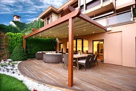 Awnings For Decks Ideas I Like The Rounded Patio With The Rectangle Pergola Retractable