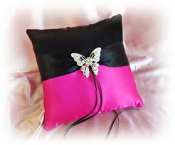 wedding pillows butterfly wedding ring bearer pillows black fuchsia pink