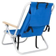 Folding Beach Lounge Chair Backpack Beach Chair Folding Portable Chair Blue Solid