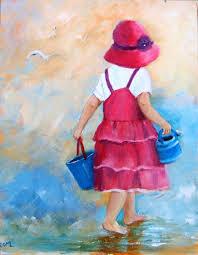 fille originale enfant à la plage peinture acrylique originale sur toile