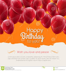 Birthday Cards Invitation Vector Happy Birthday Card With Red Balloons Party Invitation