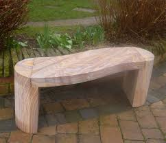 curve polished rainbow sandstone stone bench large garden bench