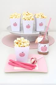 kara u0027s party ideas snack plate popcorn favor boxes from an apple