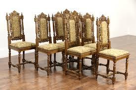 antique oak dining room chairs sold set of 8 black forest grapevine carved 1880 antique oak