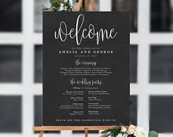 chalkboard wedding program template wedding program sign etsy
