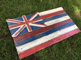 Hawaiian Flag 3d Rustic Hawaiian Flag Hawaii Flag Wall Art