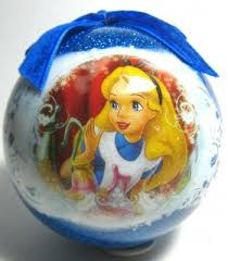 alice in wonderland decoupage glitter ornament from our christmas