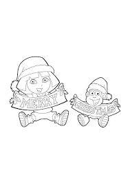 dora santa free coloring pages christmas christmas