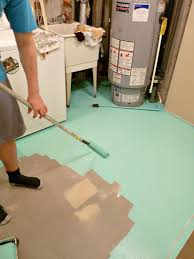 paint concrete floors a fun colour i painted mine aqua to