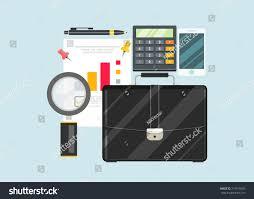 Desk Audit Auditor Work Desk Accounting Paperwork Business Stock Illustration